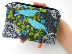 Finch Bird Zipper pouch Little Coin Purse  ECO Friendly Padded by JPATPURSES, $8.00