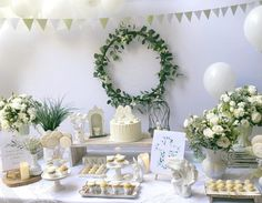 First Communion Decorations, Christening Decorations, First Communion Party, Christening Party, Boho Baby Shower, White Decor, Dessert Table, Table Decorations, Creative