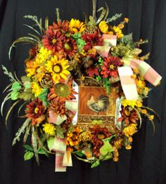 French rooster Fall wreath with sunflowers