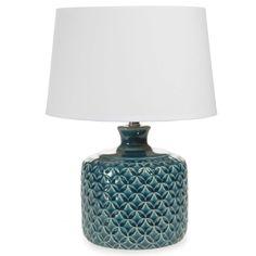 Lampe en céramique bleue H 34 cm PORTO