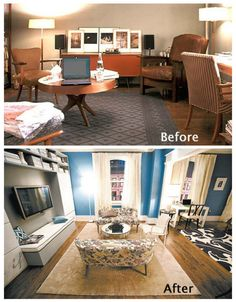 Before a break-up and after a break-up or should I say a no show at the wedding and after her honeymoon with freinds the apt redo. Carrie Bradshaw's apt, NY