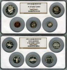 Proof Sets, 1999-S Silver Proof Set PR70 Ultra Cameo NGC. Housed in two large  NGC holders.... (Total: 10 coins)