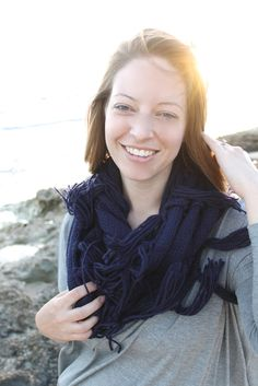 Cozy Tassel Infinity Scarf in Navy // The Dandy Lion Boutique