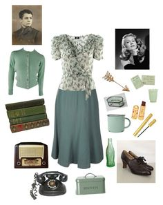 """Sea foam Green Vintage"" by peculiarleah on Polyvore featuring Olive, H&M, Chanel, canvas, Garden Trading, vintage, antique, 1940s and WWII"