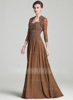 [US$ 159.99] A-Line/Princess Sweetheart Sweep Train Mother of the Bride Dress With Beading Appliques Lace Sequins