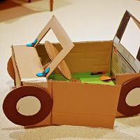 Car made out of cardboard boxes - Fun craft to keep the kids entertained when boredom sets in, and it's too hot or too cold to go outside.