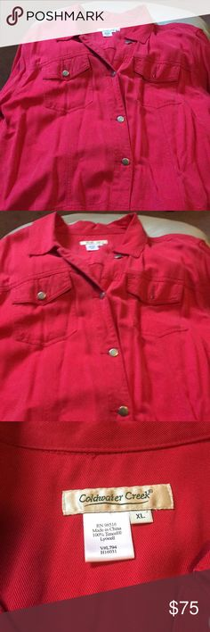 Coldwater creek red tencel jacket Coldwater creek red tencel jacket  Tencel is a very soft material  Rivers for buttons Coldwater Creek Jackets & Coats Jean Jackets