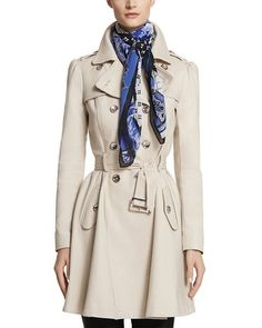 What A Fun Fit and Flare Neutral Trench Coat to have in your Wardrobe...(White House Black Market Feminine Flare Trench Coat #whbm).