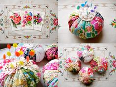 Liberty Fabric Pincushions bug cushions from granny chic Liberty Of London Fabric, Liberty Fabric, Diy Craft Projects, Sewing Projects, Sewing Tutorials, Sewing Ideas, Craft Ideas, Liberty Quilt, Art Du Fil