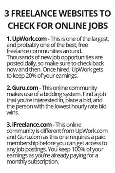 3 Freelance Websites To Check For Online Jobs - Wisdom Lives Here Earn Money From Home, Earn Money Online, Way To Make Money, Work From Home Opportunities, Work From Home Jobs, Freelance Websites, Freelance Online, Online Websites, Thing 1