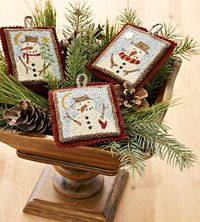 Make Needle-Punch Snowmen Ornaments Embellished with Buttons and Seed Beads