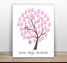 Thumbprint Tree Guest Book Poster PDF  Nursery Wall by ByYolanda