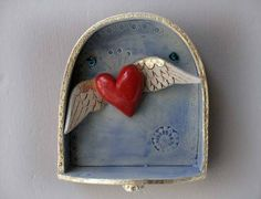 Mothers day gift - Heart Ornament - red fluttering heart with wings £55.00