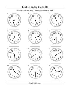 Reading Time on an Analog Clock in 5 Minute Intervals (F) free worksheet