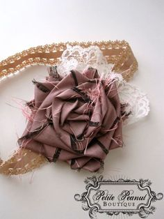 Items similar to POSH Couture Silk and Lace Fabric Flower Rosette headband - Pink Mauve White Beige Cream Ivory - (Custom Order) - Photography Prop - Wedding on Etsy Craft Flowers, Burlap Flowers, Lace Flowers, Flower Crafts, Fabric Flowers, Rosette Headband, Flower Headbands, Wedding Photography Props, Floral Fashion