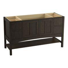 """Marabou 60"""" Vanity Base with 2 Doors and 4 Drawers, Split Top Drawers"""