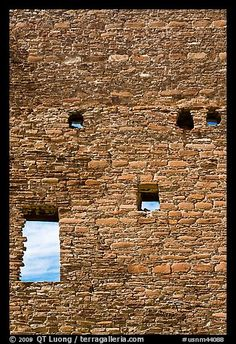 Sky seen from masonery wall windows. Chaco Culture National Historic Park, New Mexico, USA