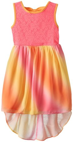 Youngland Little Girls' Crochet and Ombre Chiffon High-Low Dress, Pink/Orange, 5