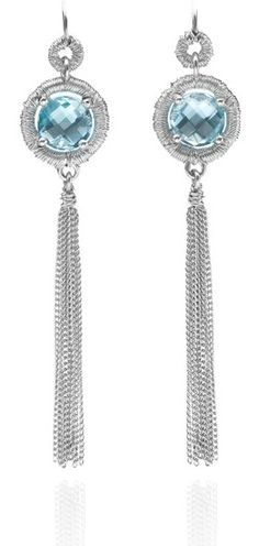 Blue topaz 'Wrap' earrings new from Karen Phillips. In Stock £275 #silver #contemporary #boutique #London  #designer #jewellery  #NudeJewellery