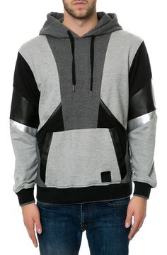 abstract color blocking on hoodie Karmaloop men's hoodies