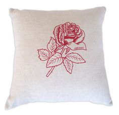 Gorgeous linen cushion with simple rose screen print