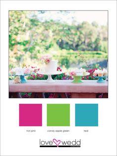 hot pink, lime green, teal #color palette #wedding