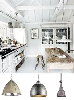 Cornwall Kitchen With Rustic Industrial Dome Pendants