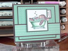 """This card is for the Wish RAK April Card Contest Sketch It - BSC22. I received the House Mouse Happy Hopper image called """"Relaxing Bubbles"""" image from a Wish RAK member. The paper piercing fits with today's TLC challenge."""