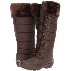 Dirty Laundry Bear Hug (Dark Brown Matte Nylon) Women's Boots ($90) ❤ liked on Polyvore featuring shoes, boots, knee-high boots, chunky heel knee high boots, dark brown boots, long knee high boots, knee-high lace-up boots and long knee boots