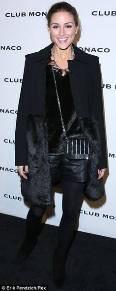 leather shorts. Fur coat. Olivia Palermo.