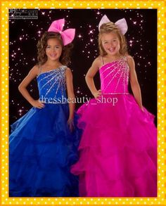 Wholesale Custom Made Royal Blue Fuchsia Bling Crystals Ruffles Formal Wedding Flower Girl Dresses Pageant Hot, Free shipping, $82.88-92.96/Piece | DHgate