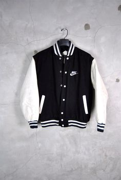 mens vintage jacket, 1980's black and white Nike logo varsity jacket, faux leather sleeves,