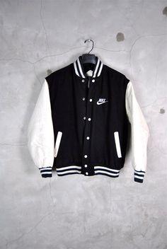 mens vintage jacket, 1980's black and white Nike logo varsity jacket, faux leather sleeves,
