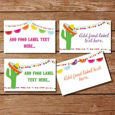 Mexican Fiesta Tent Cards Food Labels by SunshineParties on #Etsy.......so lovely! #MexicanFiestaTentCards #MexicanFiestaFoodLabels