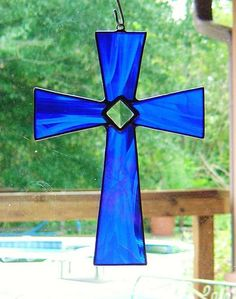 Beautiful Custom Iridescent Blue Stained Glass Cross with glass Bevel Great Christmas Gift