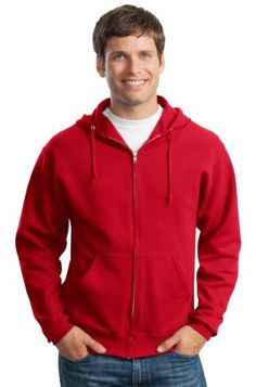 Jerzees Mens Full Zip Hooded Fleece Zipper Sweatshirt_True Red_XXX-Large