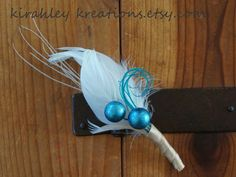 FROST --  White, Ivory and Turquoise Teal Blue, Feather and Berry Grooms Wedding Boutonniere