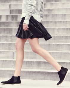 J.Crew women's inkblot sweatshirt, Thomas Mason for J.Crew shirt, women's pleated lattice skirt in black, and low Chelsea boots. To preorder call 800 261 7422 or email verypersonalstylist@jcrew.com.