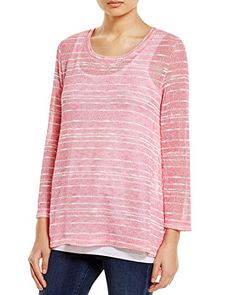 Nally  Millie Womens Knit Striped Pullover Top Pink XL * Want additional info? Click on the image. (This is an affiliate link)