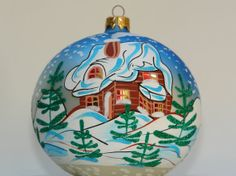 Hand Painted Christmas Ornaments Glass Ball Holiday by aniamelisa, $19.90