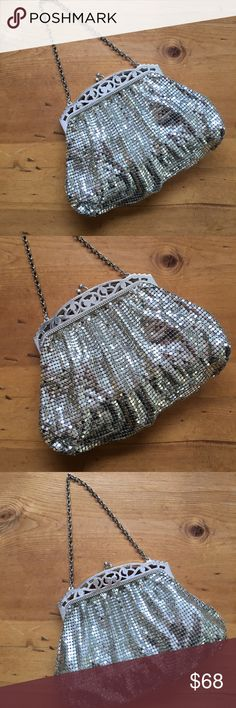 Whiting and Davis Mesh Vintage Bag This bag is beautiful it is vintage not perfect but beautiful kiss clap use with or with out chain some wear around metal trim on both sides of bag please see pics one small interior pocket inside is clean slight discolored on interior where the bag close see pic all mesh is in tact some patina see pic 9 1/2 inches long including chain bag is 5 1/2 inches deep no rips tears stains non-smoking environment💕 Whiting & Davis Bags Clutches & Wristlets