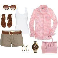 shorts camisa rosada