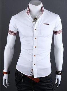 Cheap shirt shirt, Buy Quality shirt mexico directly from China clothes milan Suppliers: 2016 Summer Mens Plaid Patchwork Social Shirt Clothes Men Casual Slim Fit Short Sleeve Shirts Camisa Masculina Casual Shirts For Men, Men Casual, Camisa Slim, Style Casual, Mode Style, Men's Style, Collar Shirts, Workout Shirts, Shirt Sleeves