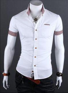 Camisa Casual Slim Fit Manga Corta - Detalle en Bolsillo y Mangas - Blanca, Negra, Vino y Azul