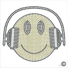 Smiley Face Headphones Music Iron On Rhinestone Motif