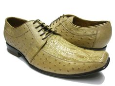 MEN'S SAND TAN CROCODILE & OSTRICH DRESS SHOES
