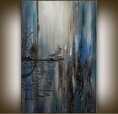 LARGE PAINTING Original painting modern abstract by artgallerys, $299.00  -  blue, etsy.   lj