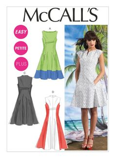 M6741 Misses'/Women's Petite Lined Dresses | Easy