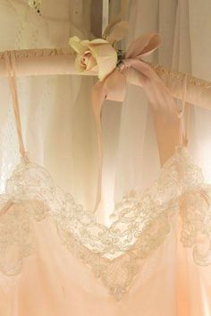 vintage pale pink, lace, ribbon and rose Lingerie Look, Jolie Lingerie, Pretty Lingerie, Blush Lingerie, French Lingerie, Luxury Lingerie, Vintage Lingerie, Shades Of Peach, Peach Blush