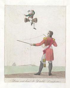1815:Bodleian Libraries, Dieu soit loué le diable l'emporte.French political cartoon.